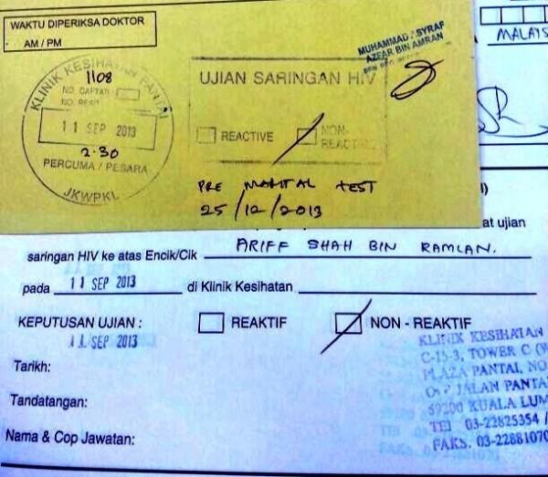 Hiv Test Untuk Bakal Raja Sehari Ariff Shah
