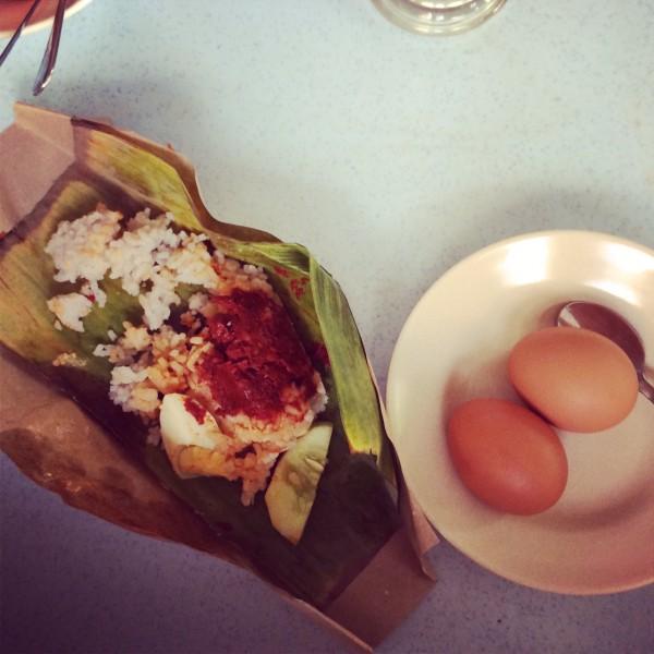 nasi lemak telur separuh