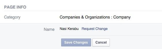 tukar nama facebook page