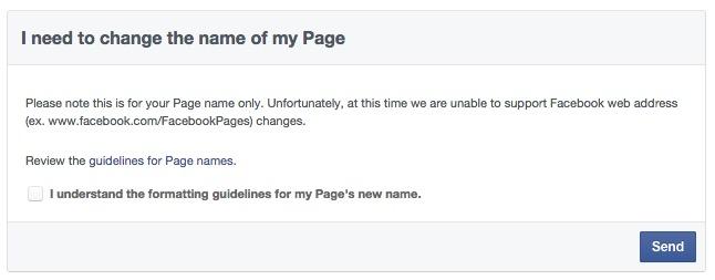 tukar nama page facebook